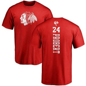 Bob Probert Chicago Blackhawks Men's Red Branded One Color Backer T-Shirt -