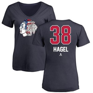 Brandon Hagel Chicago Blackhawks Women's Navy Name and Number Banner Wave V-Neck T-Shirt -